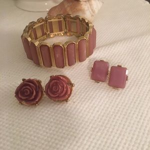 Rosy Bracelet & 2 Earrings
